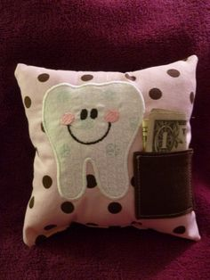 Tooth Fairy Pillow pink chocolate polka dot by OffTheHookbyLora