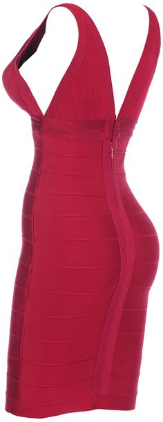 CelebBoutique.com - 'Jade' Wine Red V-Neck Body Con Dress - Celeb Style @ Affordable Prices!