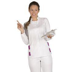 6074 - blusa de sanidad para mujer Dama, en manga larga y botones a presión ocultos. De color blanco y con trabillas de 6 colores a elegir. #medico #enfermera #doctor #hospital #batasanidad #ropaestetica #ropaspa