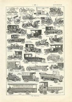 1930 Automobiles, Illustration originale Larousse voitures anciennes scrapbooking décor vintage de la boutique sofrenchvintage sur Etsy