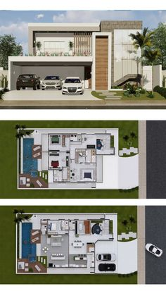 4 Bedrooms Home Design 15x30m - Home Design with Plan Sims 4 House Design, House Front Design, Duplex House Plans, Modern House Plans, Sims 4 Houses, Modern Contemporary Homes, Architecture Plan, Future House, Building A House