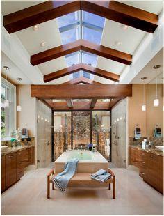 Banheiro dos sonhos com teto de vidro