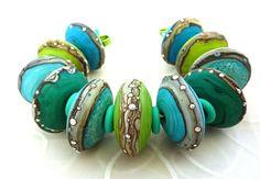 Minty Fresh Discs- by Lush Lampwork #jewelry #beads