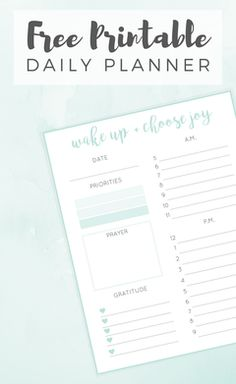 DAILY PLANNER FREE PRINTABLE is part of Organization Agendas Free Printables - Looking to be more organized This free daily planner printable will help you get organized and prioritize your daytoday activities! Daily Planner Printable, Planner Pages, Planner Ideas, Planner Template, Planner Diy, Goals Planner, Budget Planner, Planner Inserts, Weekly Planner