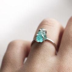 Sterling silver organic blue apatite ring  ♡ Pinterest : @uniquenaja ♡