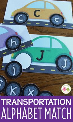 This car alphabet matching activity is great for your literacy center for your transportation theme or transportation lesson plans. Hands-on letter activity for preschool and pre-k, Match uppercase to lowercase letters
