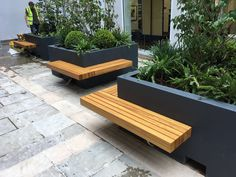 Iroko seating attached to GRP planter. Available in any RAL colour and a variety of timber Terrace Garden Design, Backyard Patio Designs, Ponds Backyard, Garden Seating, Street Furniture, Urban Furniture, Back Gardens, Outdoor Gardens, Patio Layout