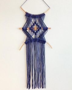 Hand dyed cotton cord macrame wall hanging. Made with copper piping. Approx 30cm width x 65cm Length Only one available.