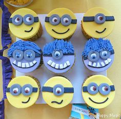 Despicable Me birthday party cupcakes! See more party planning ideas at CatchMyParty.com!