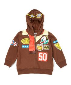 This Brown Peanuts Flying Ace Snoopy Aviator Hoodie - Toddler is perfect! #zulilyfinds