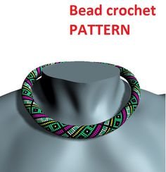 Necklace Bead crochet pattern beading necklace geometric pattern for necklace jewelry pattern stripped pattern beaded crochet pattern - pinned by pin4etsy.com