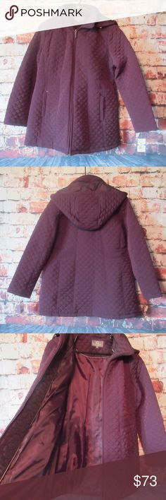 """Gallery Quilted Coat in Blackberry NWT Women's Gallery Quilted Coat. Size XL Petite. Long sleeves, hooded, zip up with two sides pockets. Hood is removable.   Measurement's are approximate:  Chest: 23"""" Length: 31""""  Thank you so much for looking! Gallery Jackets & Coats"""