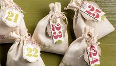 Muslin bags and festive tags.