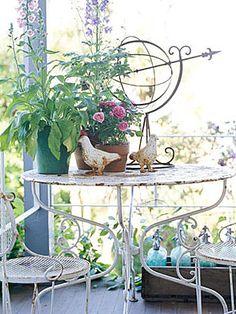 chipped white garden furniture