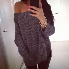 Sweater: grey, oversized jeans, bracelet, pocket jumper, knitted, grey jumper, knit knitwear, classy, girly, shirt, heather grey, heather gray, woolen, oversized, jewels, winter happily grey, love it - Wheretoget