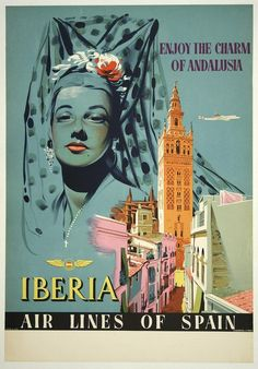 classic posters, free download, graphic design, retro prints, travel, travel posters, vintage, vintage posters, Enjoy the Charm of Andalusia, Iberia, Airlines of Spain - Vintage Travel Poster
