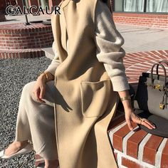 GALCAUR Yellow Coat For Women Stand Collar Sleeveless Patchwork Pockets Loose Oversized Tweed Coats Female 2020 Autumn Clothing Vest Outfits, Fall Outfits, Coats For Women, Clothes For Women, Yellow Coat, Tweed Coat, Woman Standing, Vests, Autumn