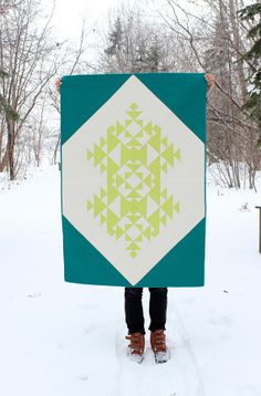 Geometric Snowflake Baby Boy Quilt / Toddler Quilt - Lime and Teal