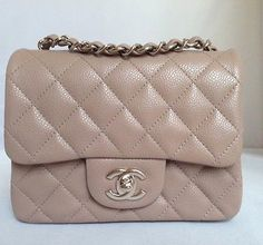 bd16aae8b7fb New 2014 chanel dark beige taupe caviar mini square classic bag rare sold  out