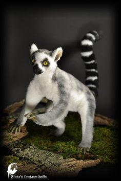 Lemur Handmade Animal soft sculpture OOAK by ZlatasFantasyForest