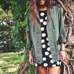 Daisies under Surplus. #jacket #daisies #dress
