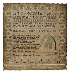 Sampler by Mary Ann Jenney (1815–1830), age 10  Fairhaven , dated 1826.