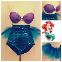 Disney Little Mermaid Ariel EDM / Rave bra & tutu costume by Mollipop Gang®
