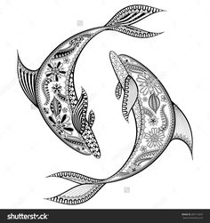 Zentangle Stylized Dolphins. Hand Drawn Vector Illustration Isolated On White Background. Sketch For Tattoo Or Makhenda. Animal Sea Collection. - 405714634 : Shutterstock