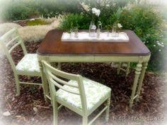 Sage green, 2 toned table and chairs