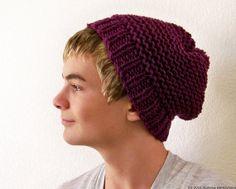 Purple Mens Hat Mens Slouchy Beanie Hat Knit Pom by natalya1905, $35.00