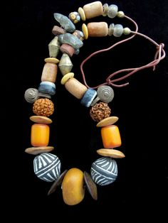 Old African Trade Beads Jewelry - Handcrafted Necklace