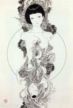 """Necrophantasmagoria"" by Takato Yamamoto Illustrators, Horror Art, Japanese Art, Japanese Artists, Art Drawings, Drawings, Illustration Art, Art, Pop Art"