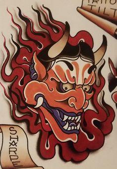 "Traditional/old school tattoo, Jeromey ""tilt"" McCulloch, Andy Sharpe, hanya, demon, oni"
