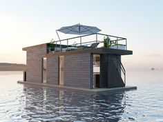 Matrix Pontoons — Houseboats Examples with Pontoons Pontoon Houseboat, Houseboat Living, Pontoon Boat, Floating Dock, Floating House, Container Conversions, Pump House, Float Your Boat, Sustainable Architecture