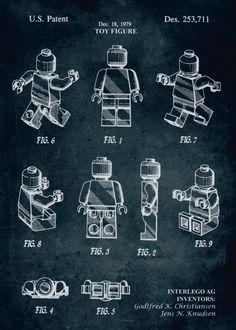 Poster - 1979 - Toy figure - Inventors G. Les chiffres de LEGO et plate-forme Kids par thepatentoffice - 1966 - Components for. by Xavier Vieira Legos, Industrial Wall Art, Industrial Design, Industrial Kitchens, Industrial Style, Blueprint Art, Lego Room, Lego Design, Patent Prints