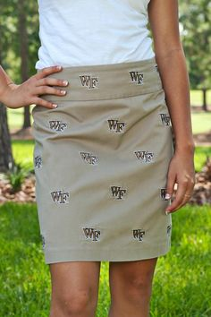 Womens stadium skirts by Pennington & Bailes with embroidered Wake Forest logo are perfect for game day tailgating or the golf course. Wake Forest University, Khaki Skirt, Golf Pants, Lifestyle Clothing, Golf Outfit, College Outfits, Clothing Company, Colorful Shirts, High Waisted Skirt