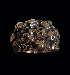 Bronze Skull Cluster Ring from Jax Biker Jewellery by DaWanda.com
