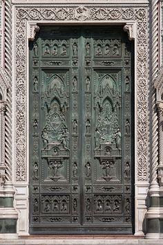 Door with intricate design.