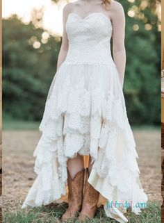 White Lace Short Wedding Dresses Country Boots