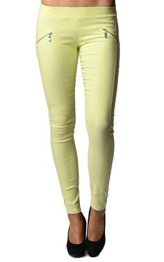 Yellow Slim Fit Cross Zip Jeggings #jeggings #yellowjeggings #jeans #straightlegjeans