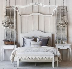 Aria Queen Canopy Bed in Stone Eloquence® Aria Queen Canopy Bed with gracefully delicate posts topped with beautifully carved wood. Hand-finished in Stone and upholstered in Fog Linen. 5 yards to re-upholster. Also available in King size. Grey Furniture, Country Furniture, Luxury Furniture, Bedroom Furniture, Furniture Design, Country Decor, Painted Furniture, Furniture Ideas, Grey Headboard