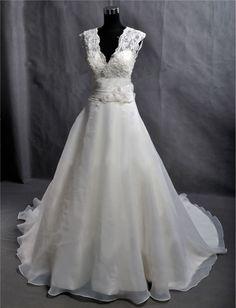 Vintage A Line Lace Organza Wedding Dress Bridal Gown Deep V Neck Prom Ball Gow Plus Size Wedding Dress Buttons Train Flower Sash. $255.00, via Etsy.
