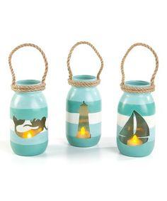 Another great find on #zulily! Coastal Cutout Three-Piece Lighted Jar Set #zulilyfinds