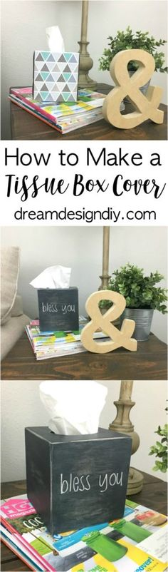 Tissue boxes can be an eye sore and not match with your decor. This tutorial shows you how to make your own tissue box cover then you can add your own flair that is perfect for your style.