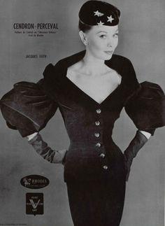 1955 velvet cocktail dress Jacques Fath
