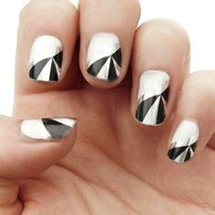 Silver & Black - Nail Wraps