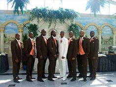 Ivory Tuxedos For Weddings | Our Tangerine and Chocolate Wedding - The Knot
