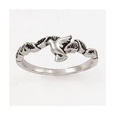 Sterling Silver Ladies' Dove Ring - Small Landing Leaves - Christian Rings for $55.00   C28.com