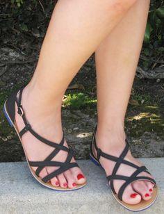 Athena Black Strappy Vegan Sandal