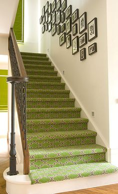 photo collage on stairs love the carpet runner too